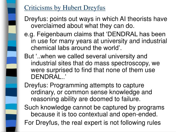 Criticisms by Hubert Dreyfus