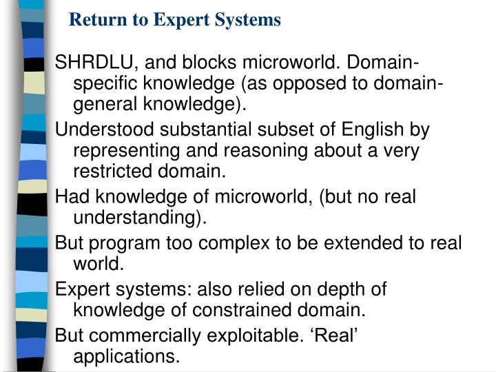 Return to Expert Systems