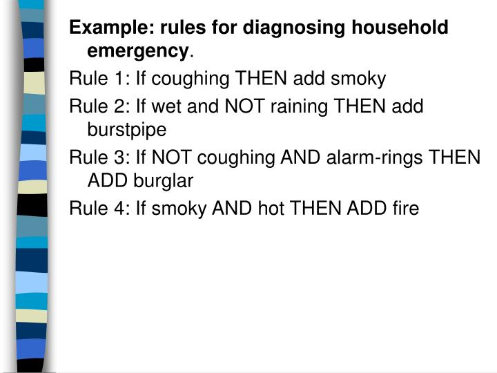 Example: rules for diagnosing household emergency