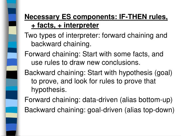 Necessary ES components: IF-THEN rules,  + facts, + interpreter