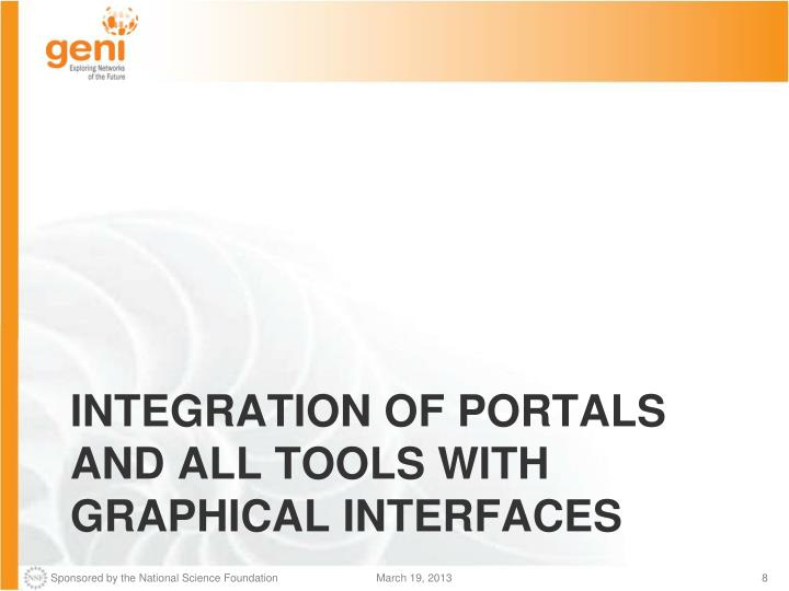 Integration of portals and all tools with graphical interfaces