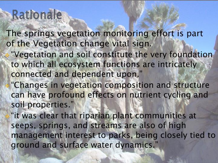The springs vegetation monitoring effort is part of the Vegetation change vital sign.