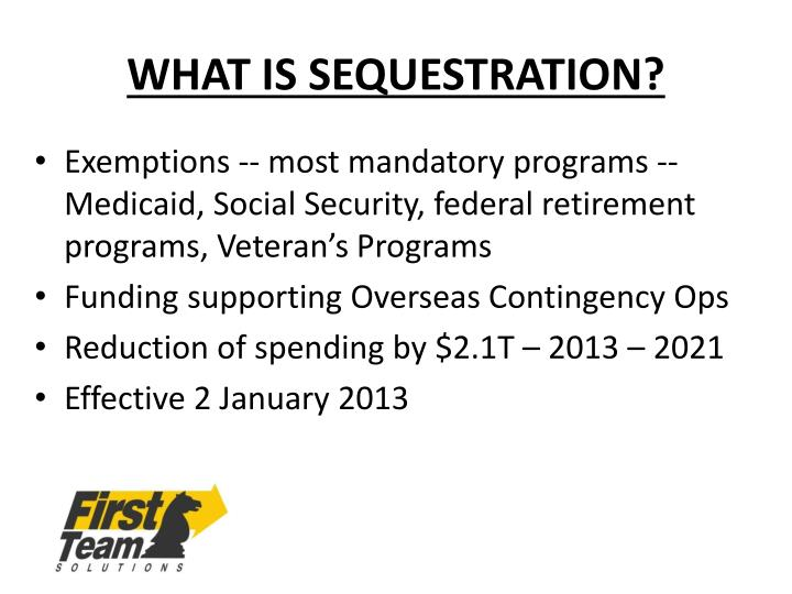 WHAT IS SEQUESTRATION?