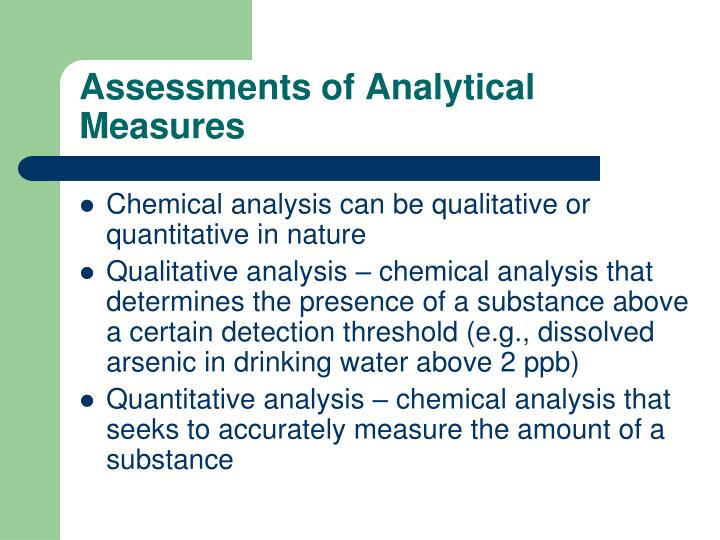 Assessments of Analytical Measures