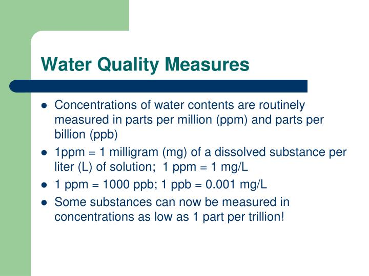 Water Quality Measures