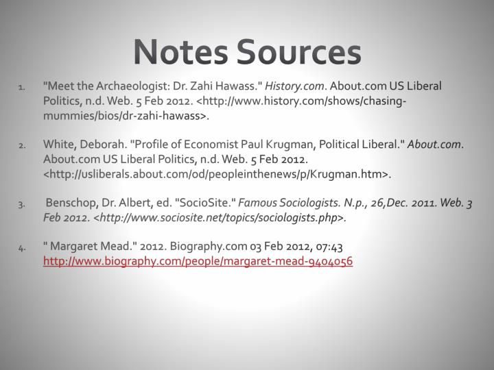 Notes Sources