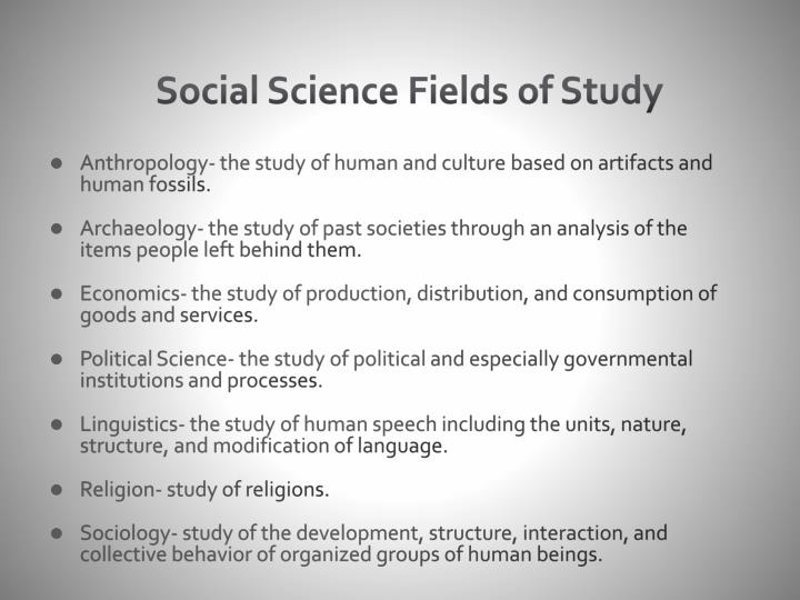 Social Science Fields of Study