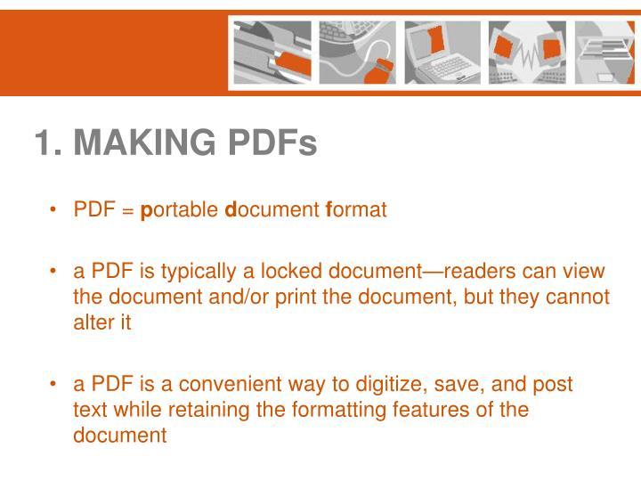 1. MAKING PDFs