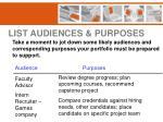 list audiences purposes
