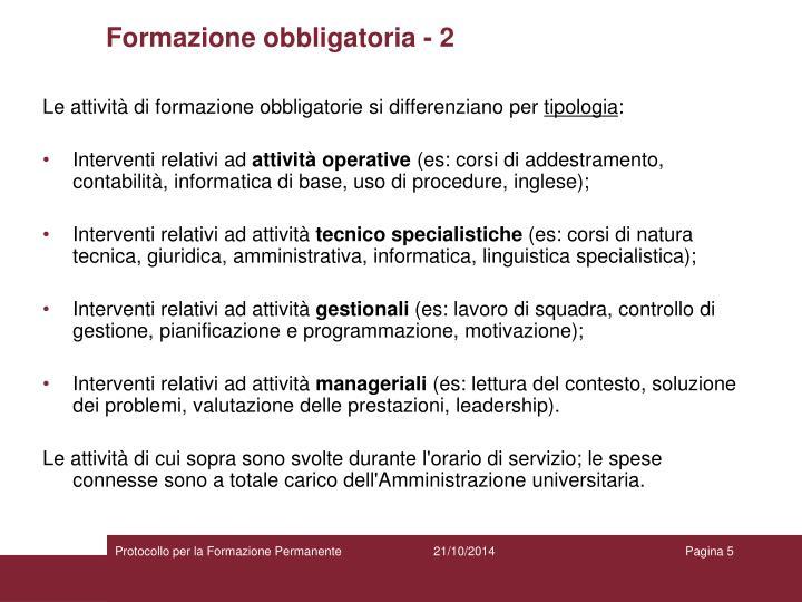 Formazione obbligatoria - 2