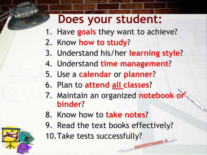 Does your student:
