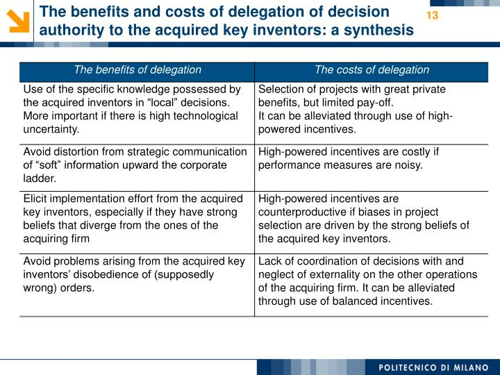 The benefits and costs of delegation of decision authority to the acquired key inventors: a synthesis