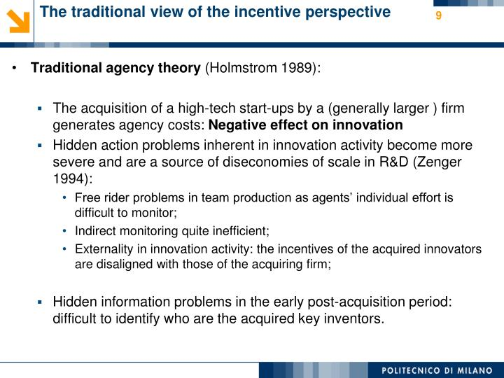 The traditional view of the incentive perspective