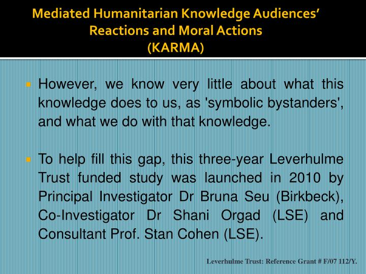 Mediated Humanitarian Knowledge Audiences'