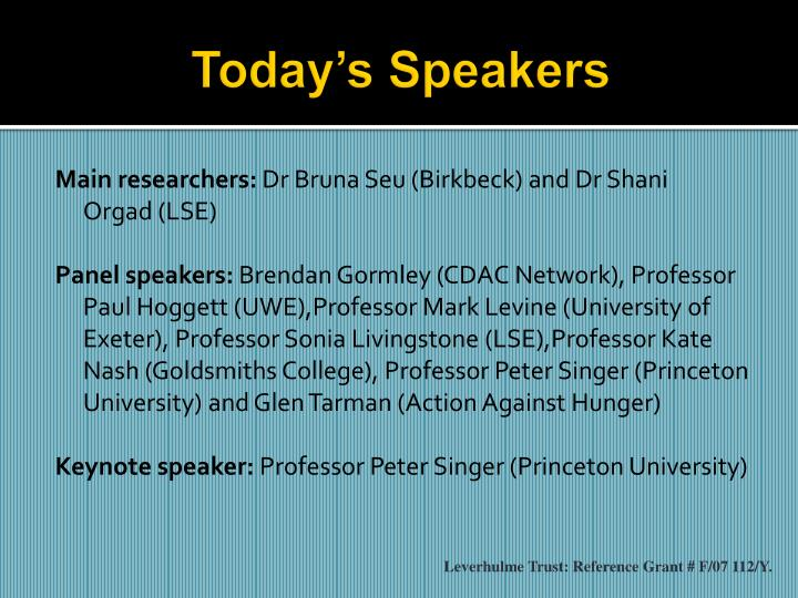 Today's Speakers