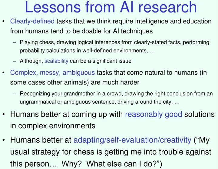 Lessons from AI research
