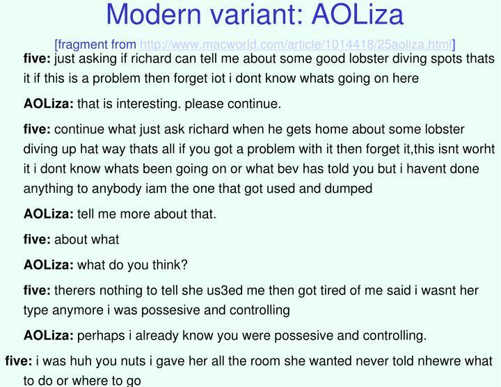 Modern variant: AOLiza