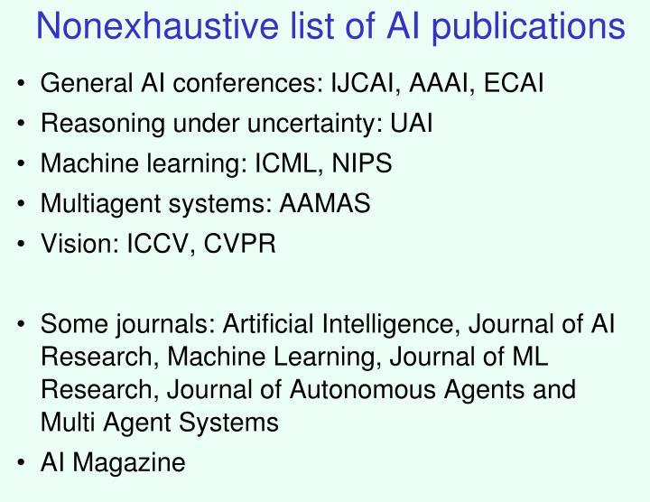 Nonexhaustive list of AI publications