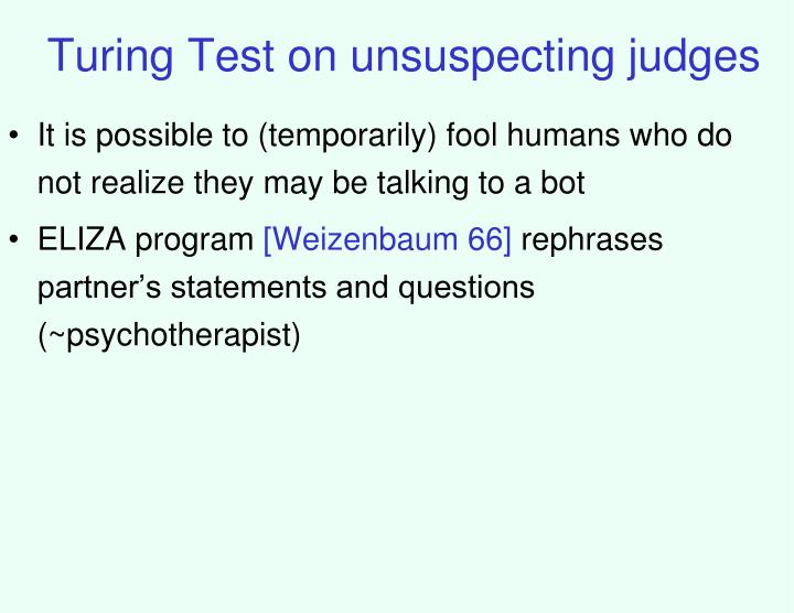 Turing Test on unsuspecting judges