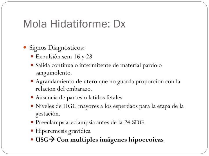 Mola Hidatiforme: Dx
