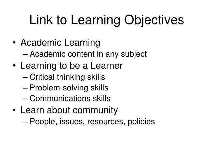 Link to Learning Objectives
