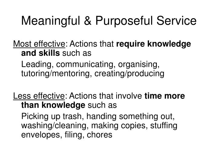Meaningful & Purposeful Service