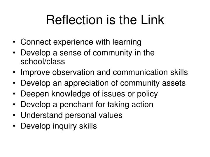Reflection is the Link
