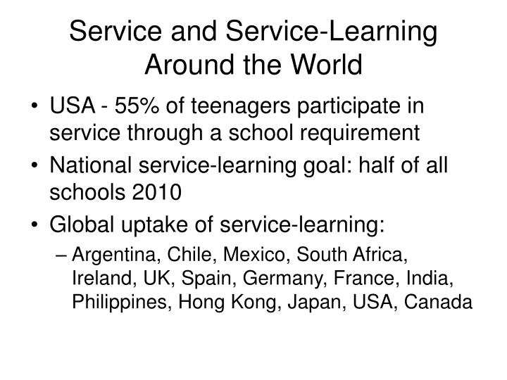 Service and service learning around the world