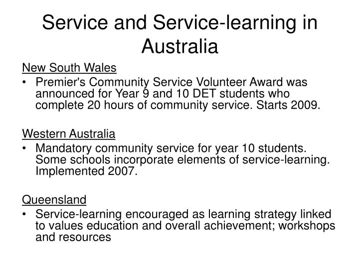 Service and service learning in australia