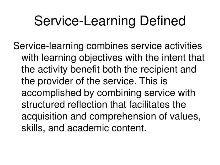 Service-Learning Defined
