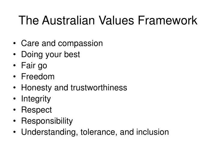 The Australian Values Framework