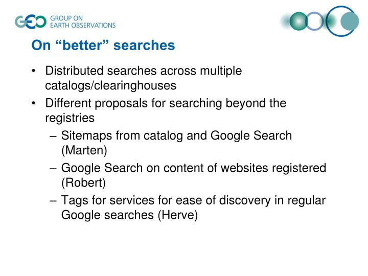 "On ""better"" searches"