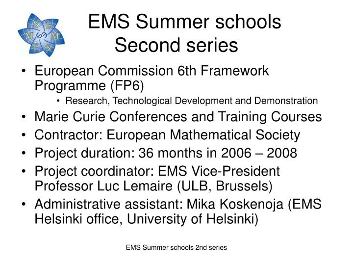 Ems summer schools second series