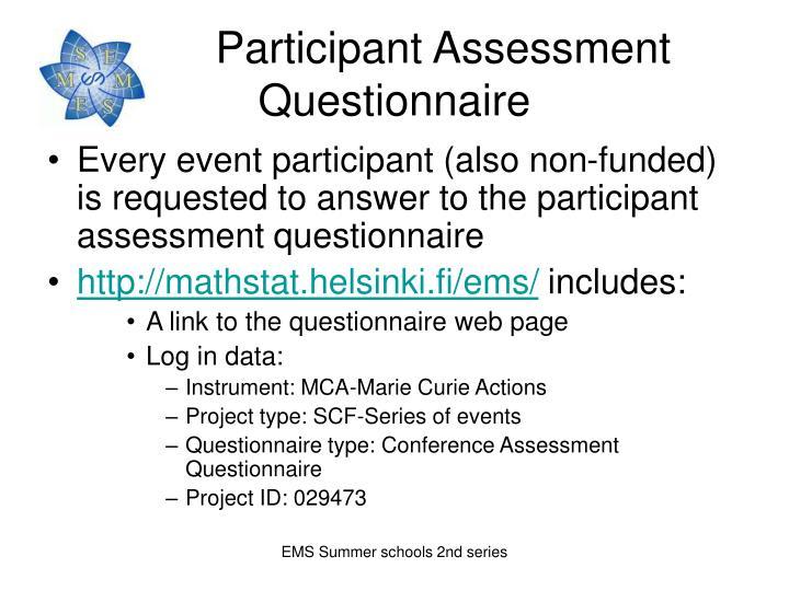 Participant Assessment   Questionnaire