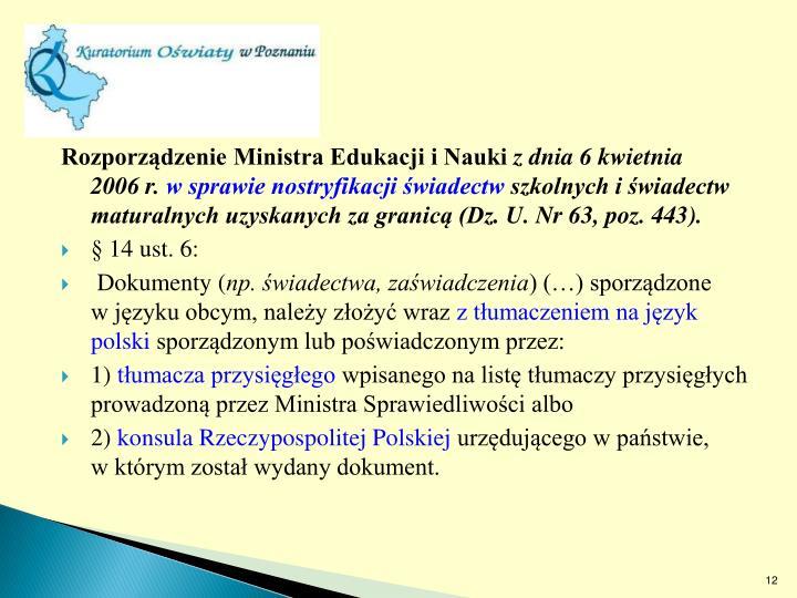 Rozporządzenie Ministra Edukacji i Nauki