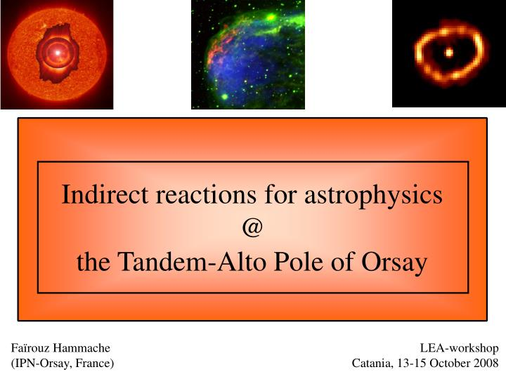Indirect reactions for astrophysics