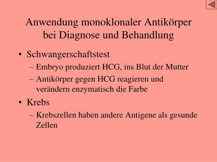 Anwendung monoklonaler Antikörper bei Diagnose und Behandlung