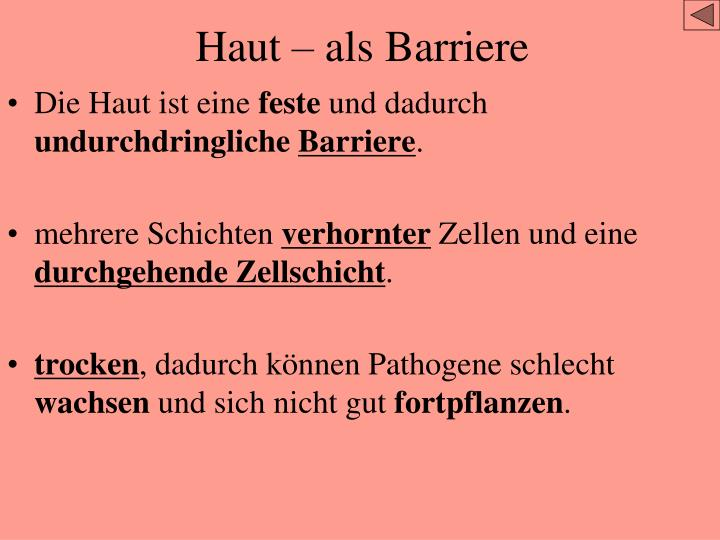 Haut – als Barriere