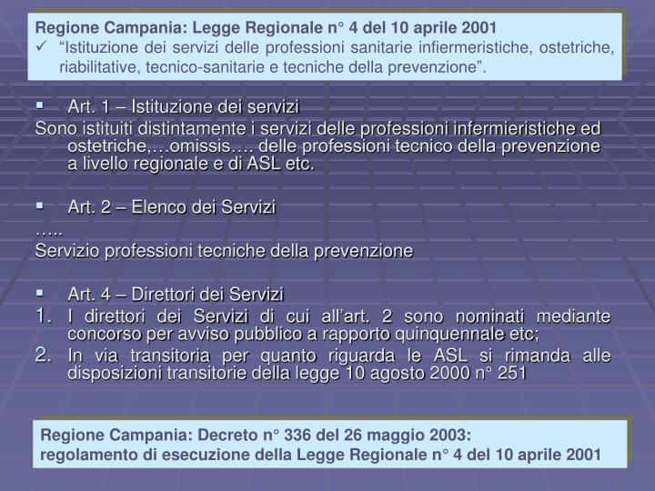 Regione Campania: Legge Regionale n° 4 del 10 aprile 2001