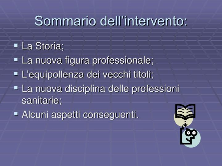 Sommario dell intervento