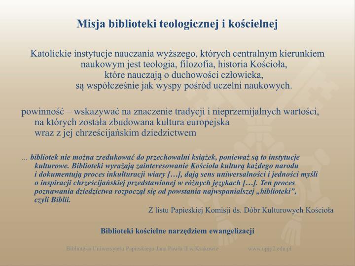 Misja biblioteki teologicznej i kościelnej