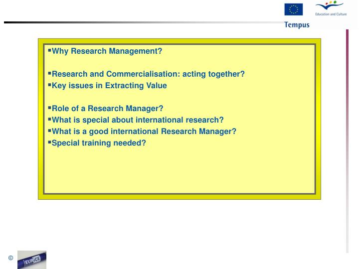 Why Research Management?