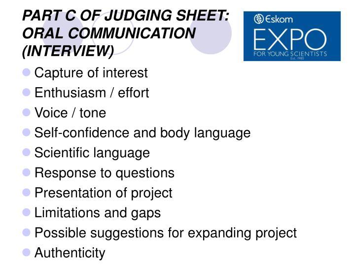 PART C OF JUDGING SHEET: