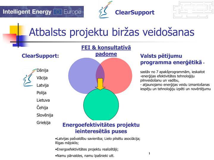 Atbalsts projektu biržas veidošanas