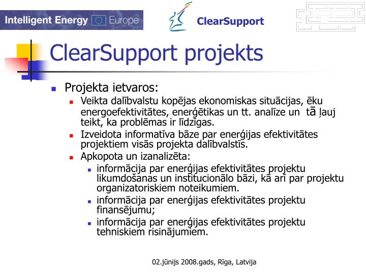 Clearsupport projekts