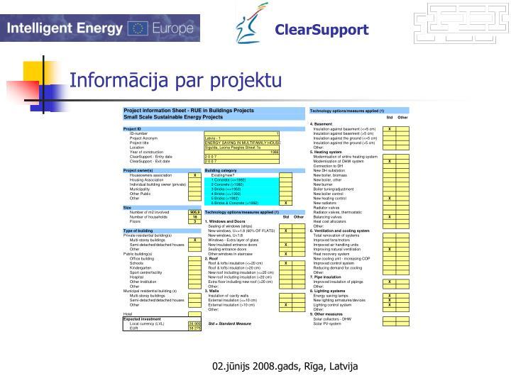 Informācija par projektu