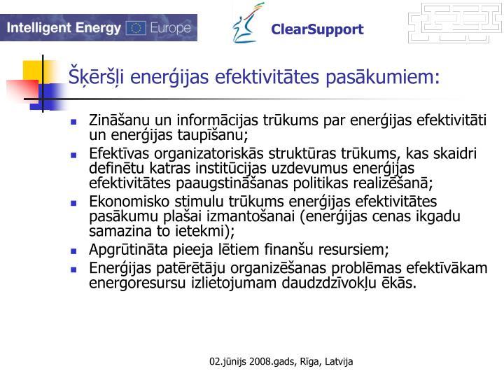 Šķēršļi enerģijas efektivitātes pasākumiem:
