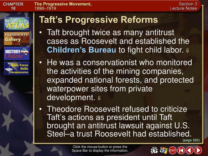 Taft's Progressive Reforms