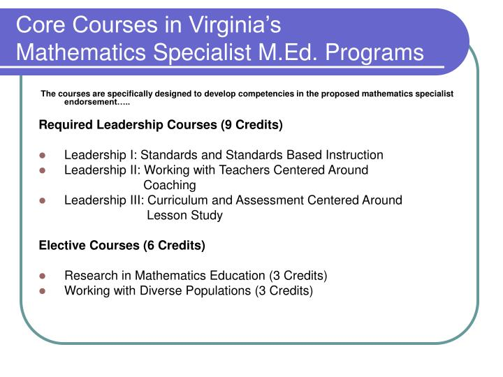 Core Courses in Virginia's