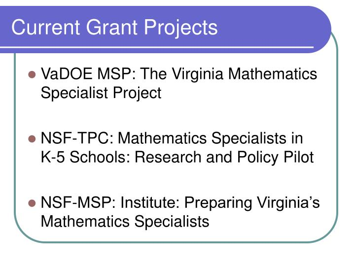 Current Grant Projects